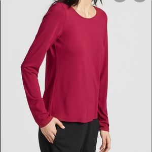Eileen Fisher Red Long Sleeve Basic Tee SP